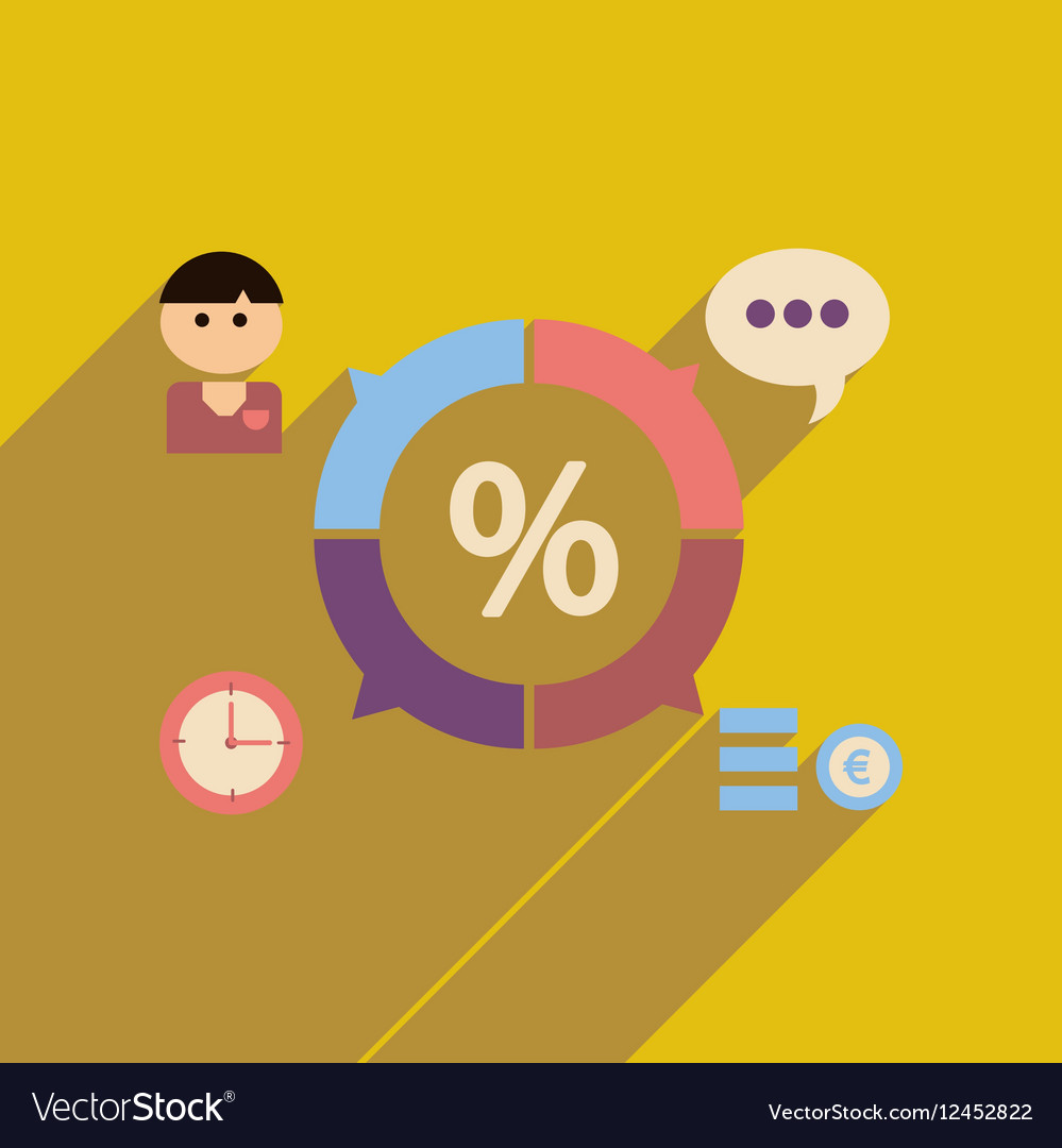 Flat web icon with long shadow business chart
