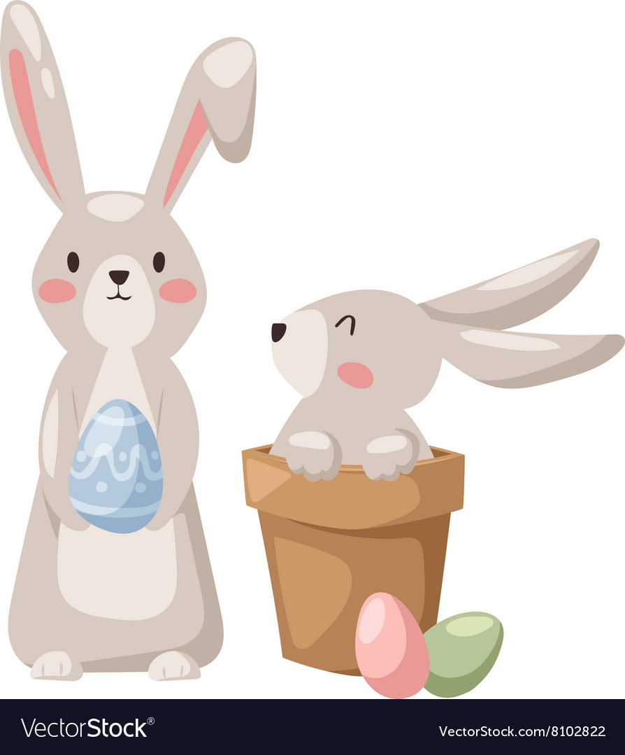 Gray easter rabbit bunny traditional symbol of