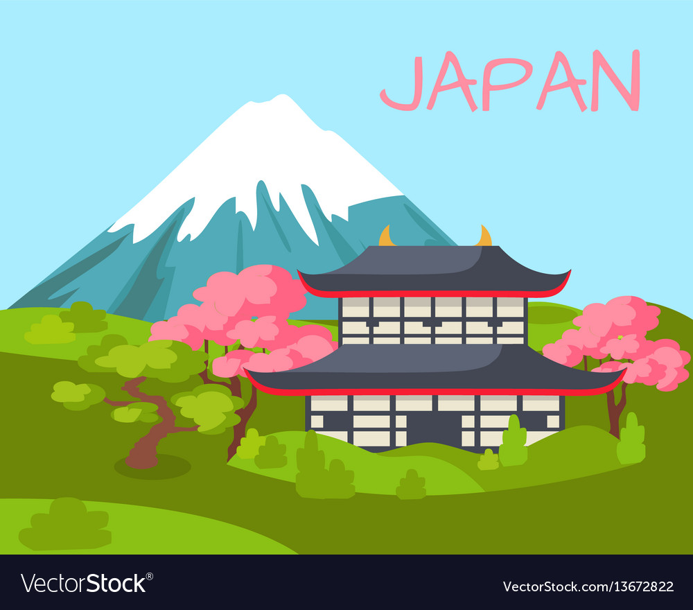Japan view on asian building and flowering sakura