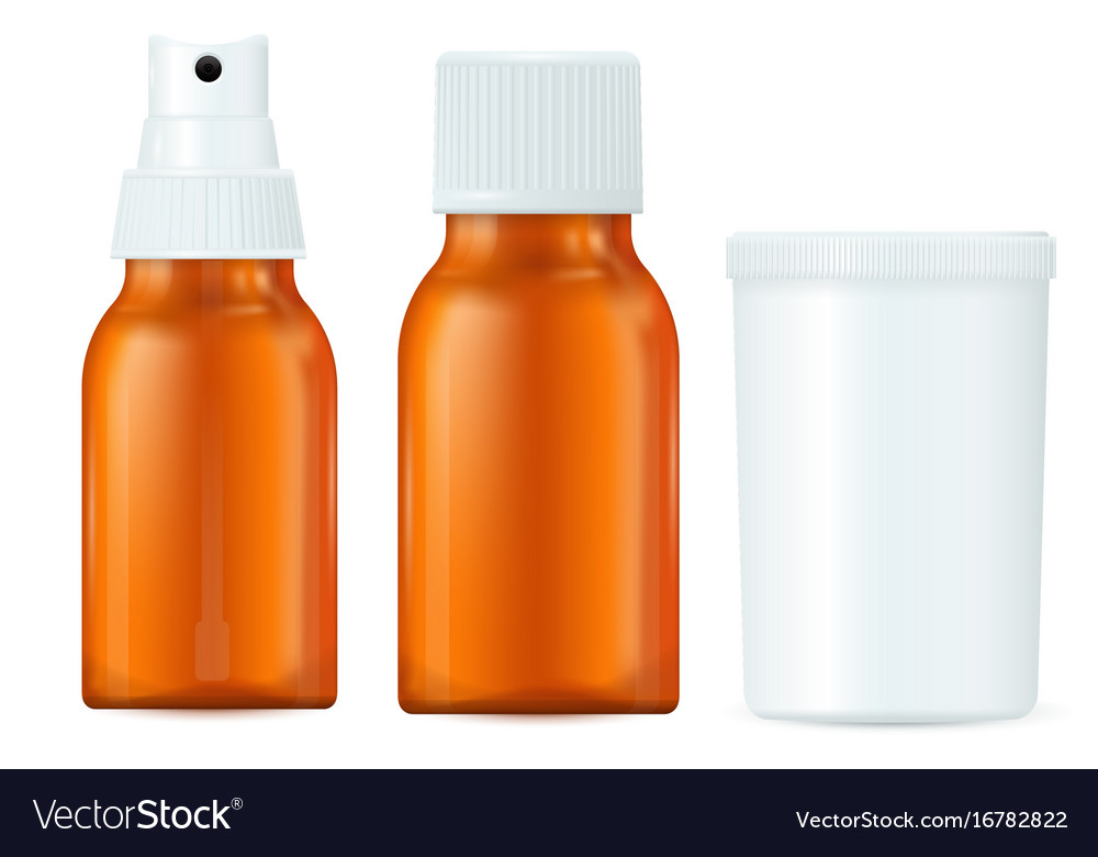 Medical bottles brown and white containers spray vector image