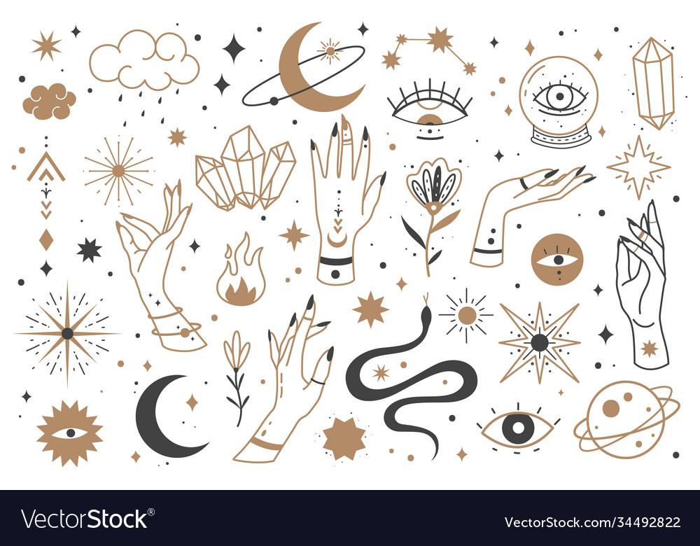 Mystic line elements magic contour icons hand