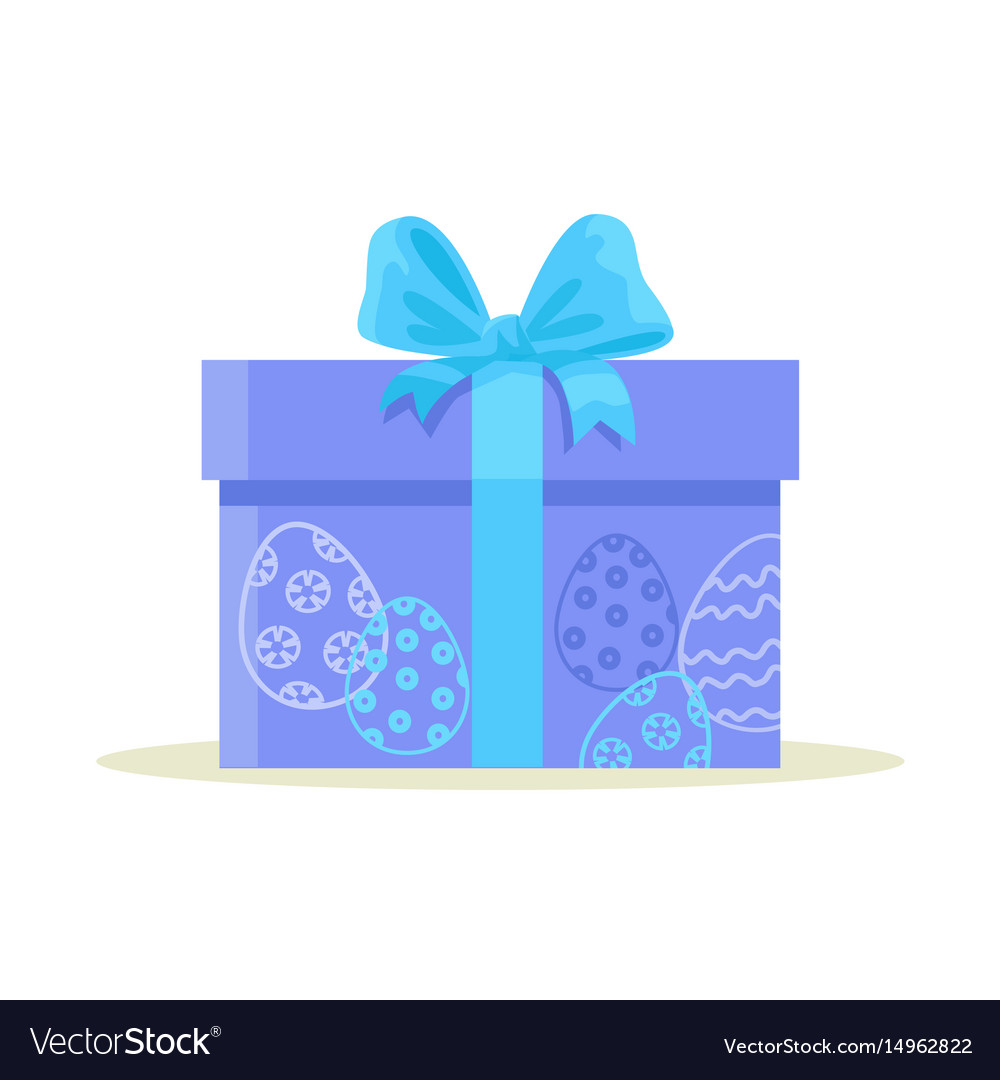 Package wrapped in colorful paper with blue eggs