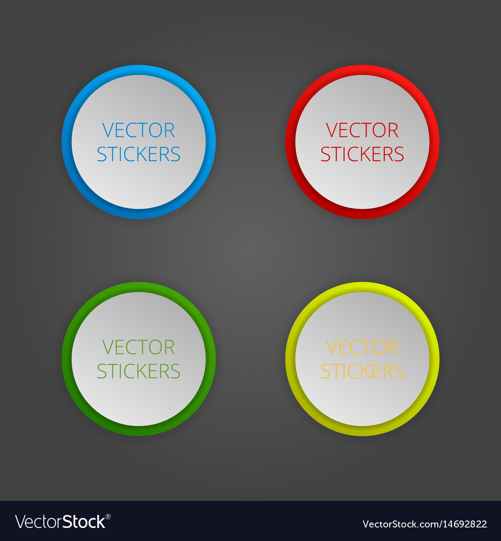 Round banners set color stickers