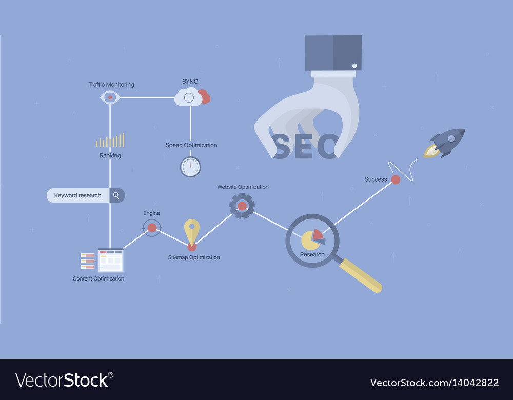 Seo process background vector image