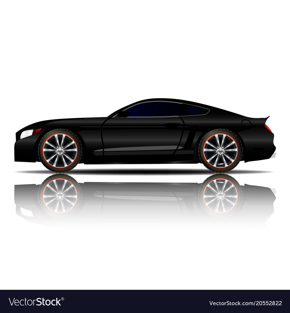 Sport Car Black Color White Background Imag Vector Image