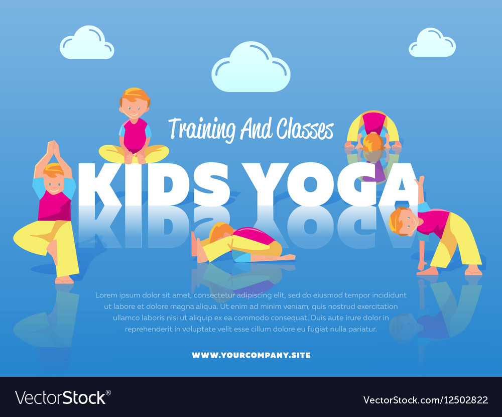 Training And Classes Kids Yoga Banner Royalty Free Vector