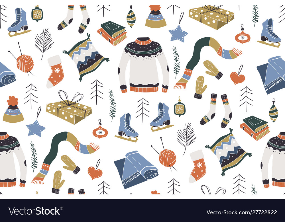 Winter pattern winter holidays merry christmas