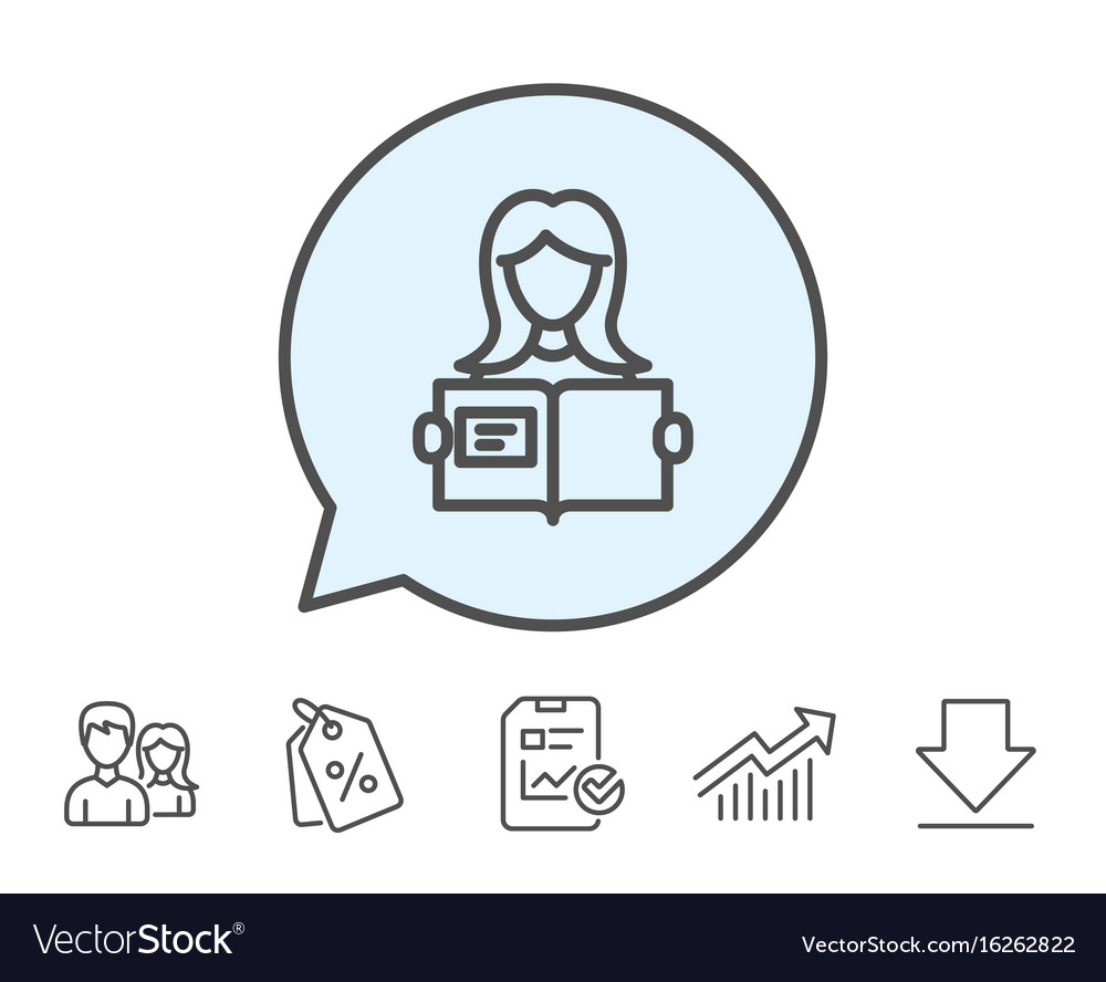 Woman read a book line icon education symbol vector image