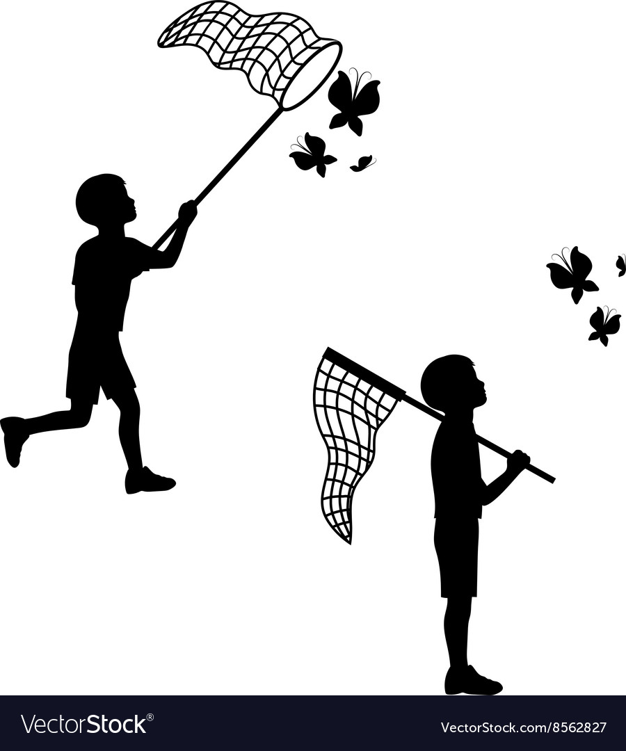 A child plays with a butterfly net
