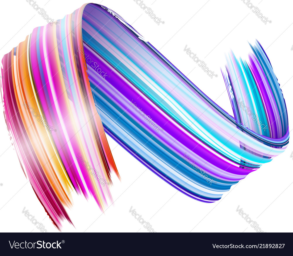 Abstract paint brush stroke colorful curl of