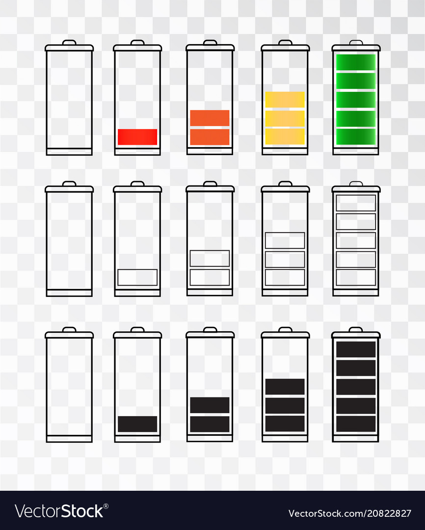Battery indicator icon set isolated isolated on a