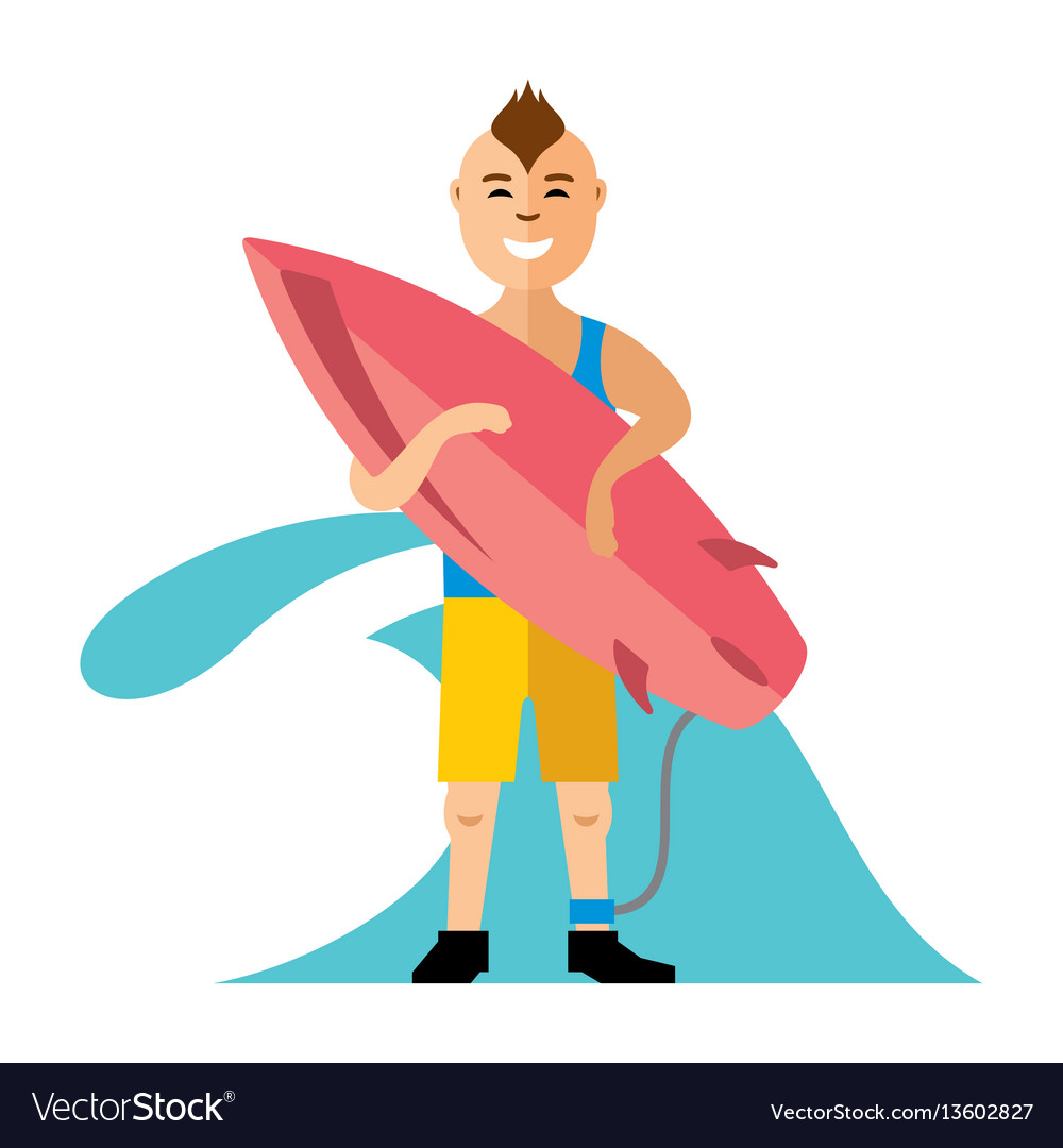 Boy with surfing flat style colorful