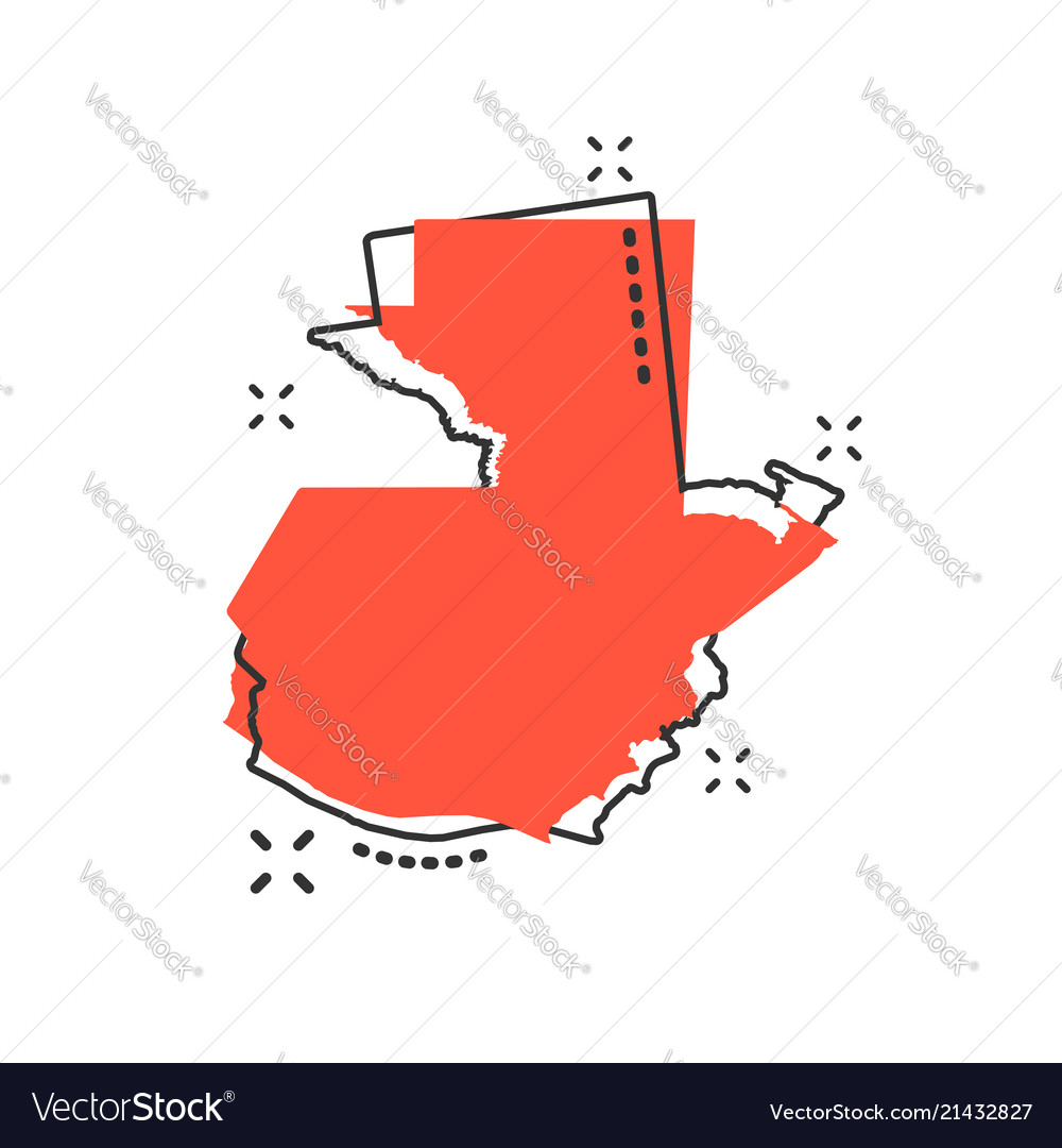 Cartoon guatemala map icon in comic style Vector Image