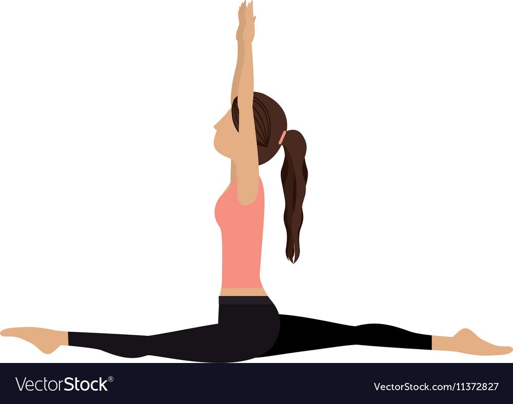 Colorful yoga woman monkey pose crescent vector image