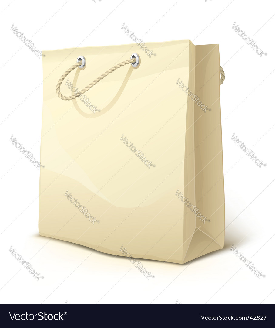 Empty paper shopping bag vector image