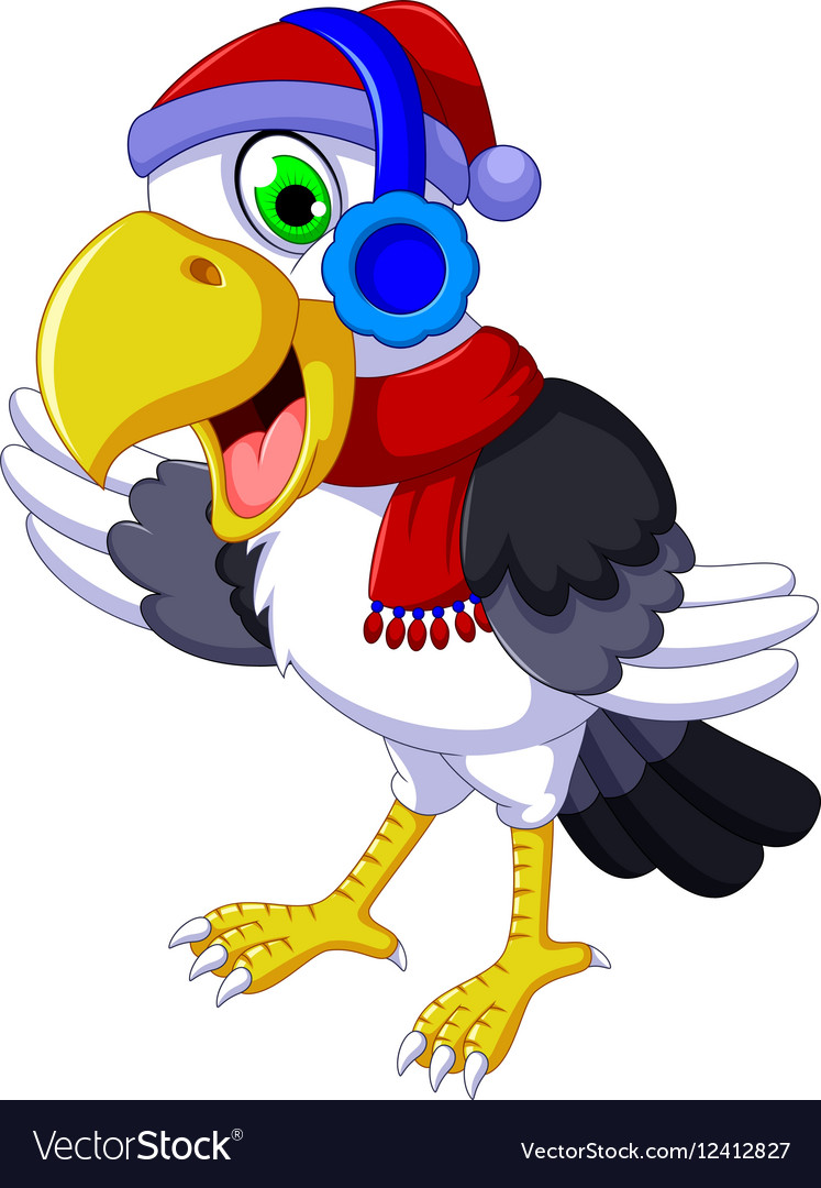 Funny cockatoo cartoon listening music