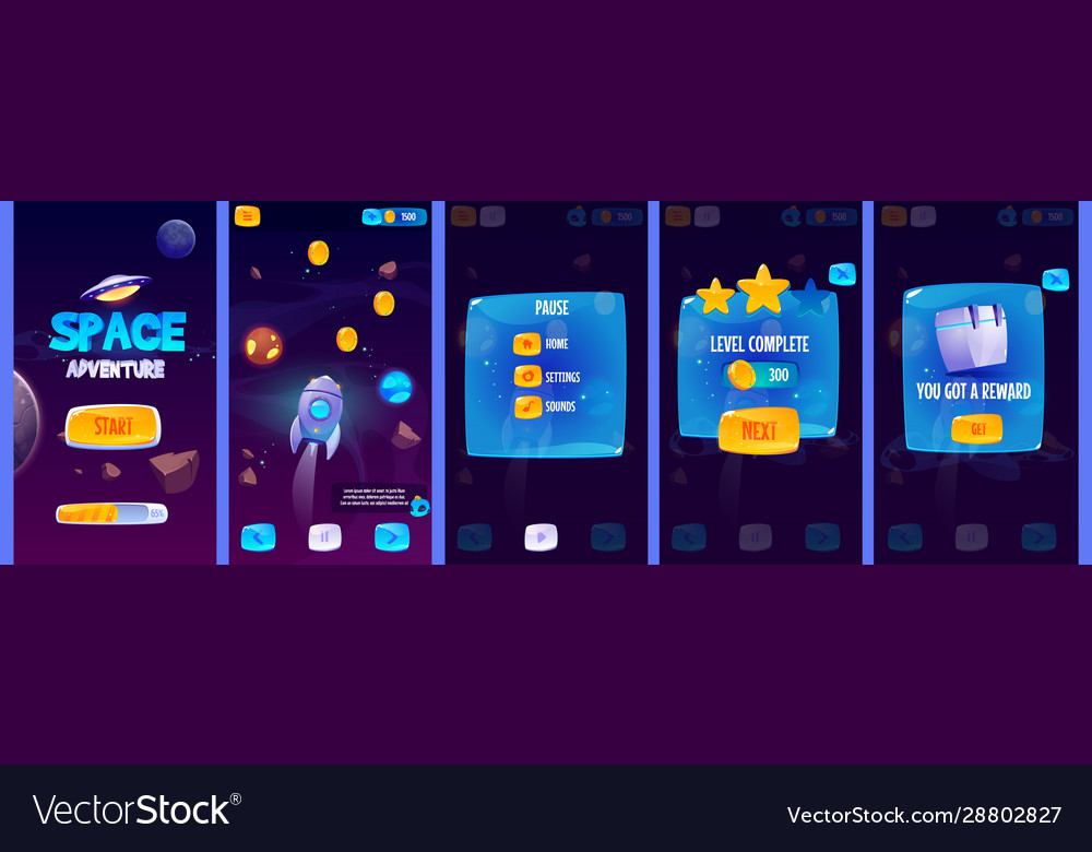 Gui app screens for space adventure game