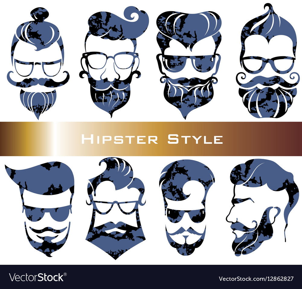 Hipster hair and beards fashion vector image