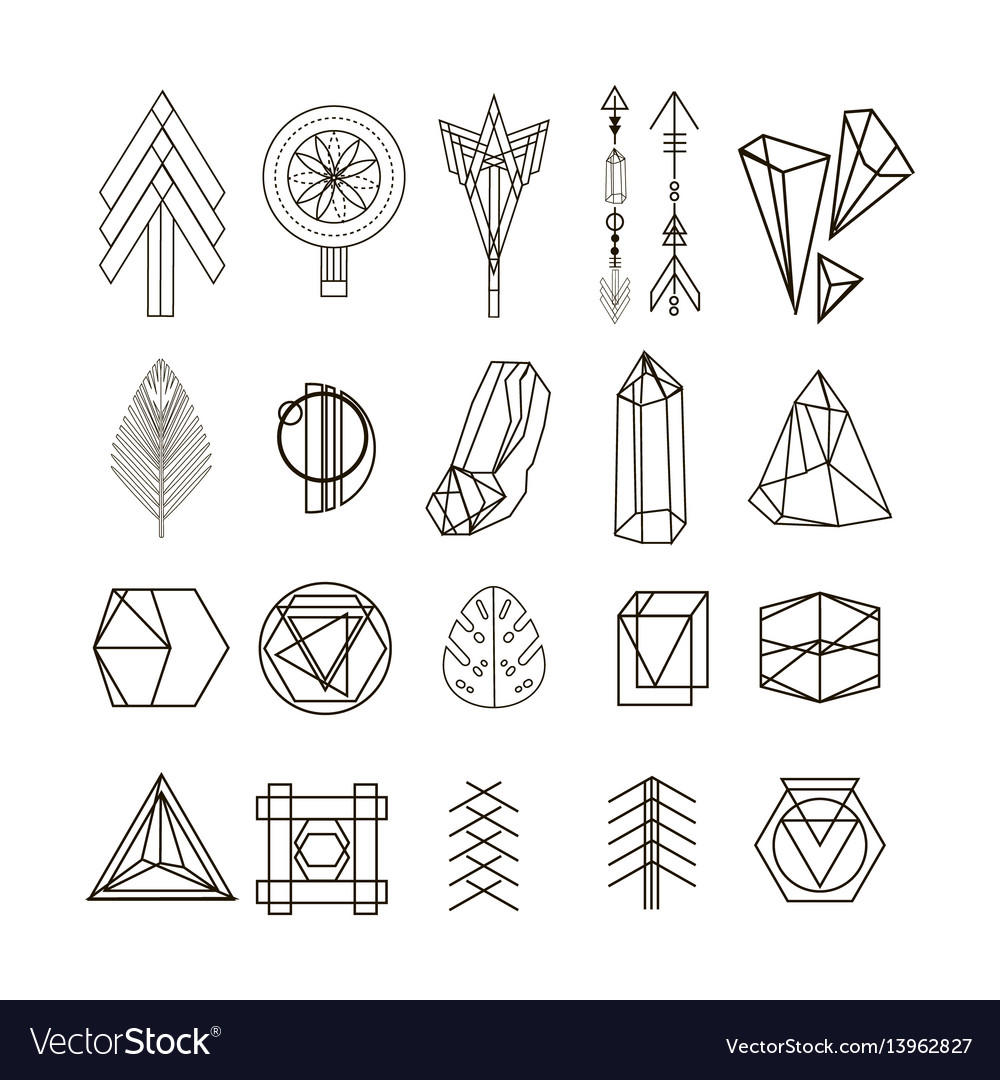 Set of minimal geometric shapes