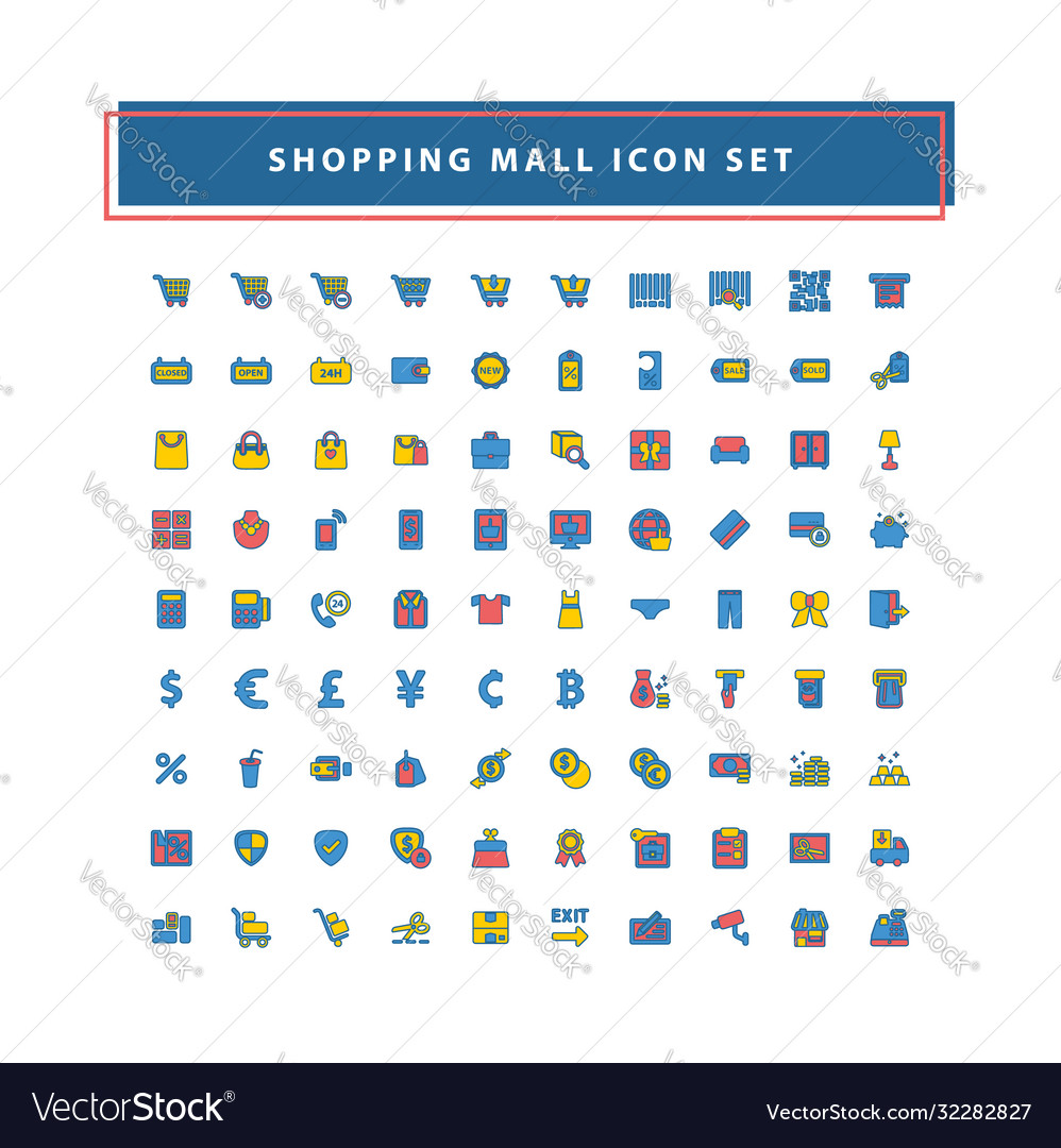 Shopping and mall icon set with filled outline