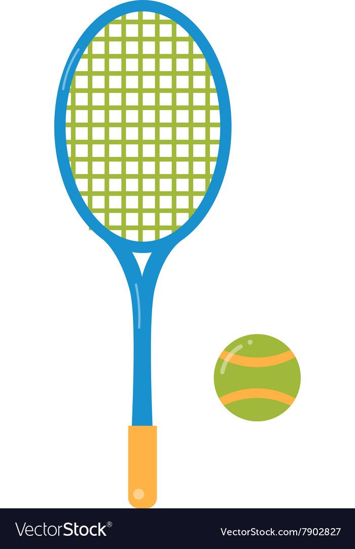 Tennis ball and racket flat