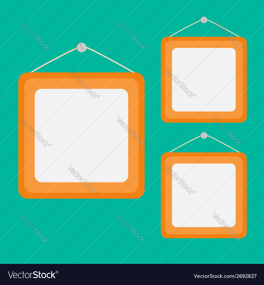 Three picture frame set with rope and nail Flat vector image