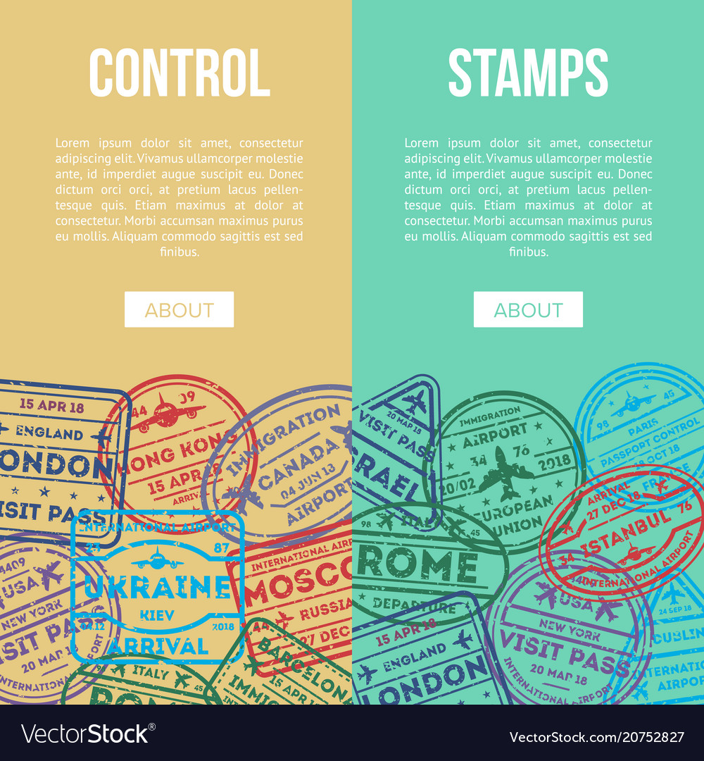 Travel agency flyers with visa rubber stamps