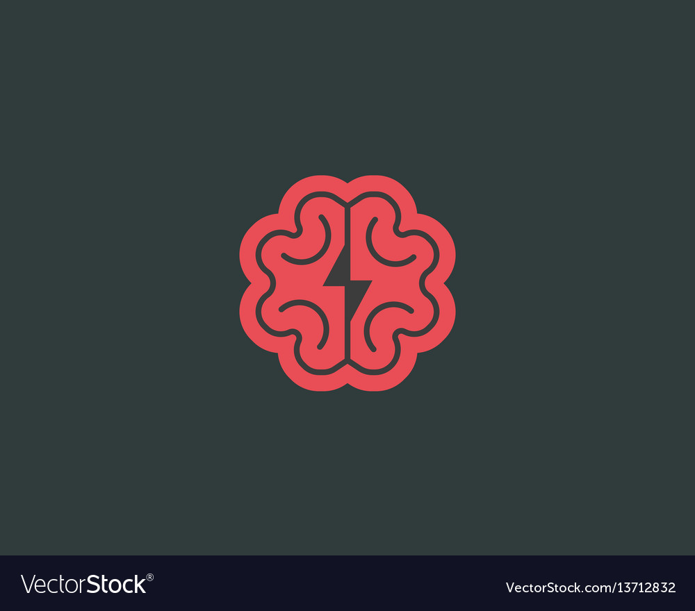 Abstract brain logo design template brainstorm