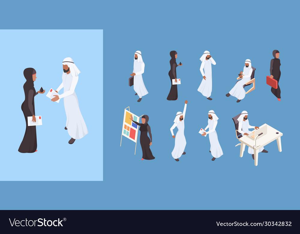 Arab isometric dubai man saudi woman business