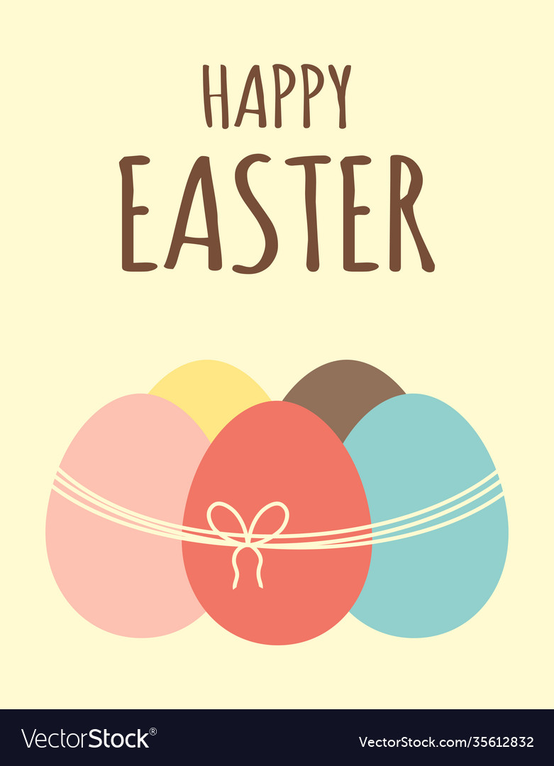 Easter card with eggs and ribbon