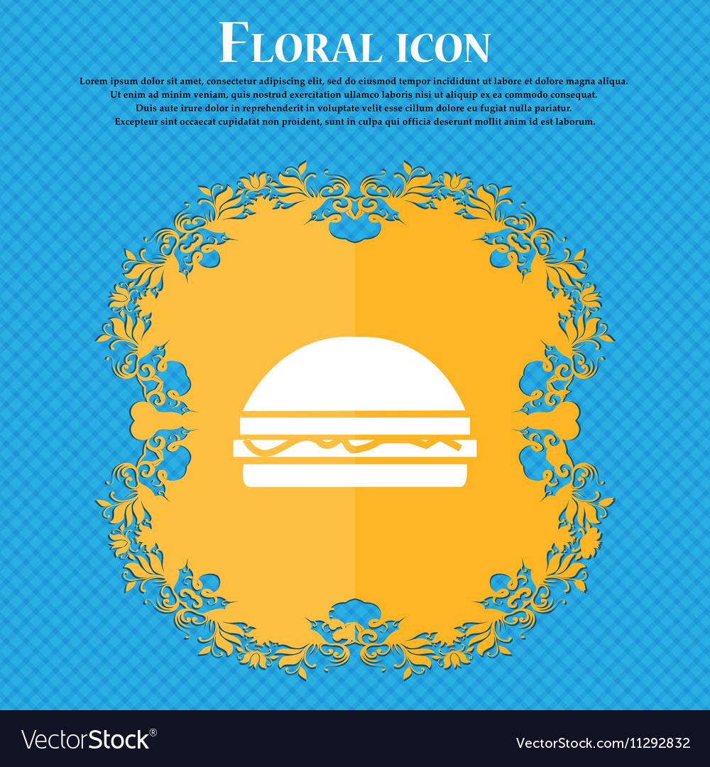 Hamburger icon sign Floral flat design on a blue