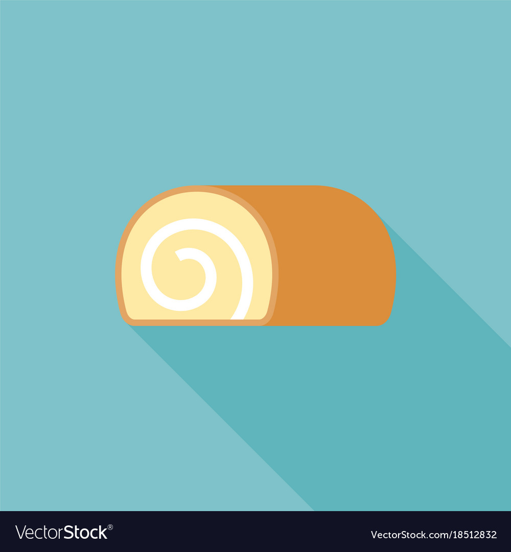 Jam roll icon flat design with long shadow