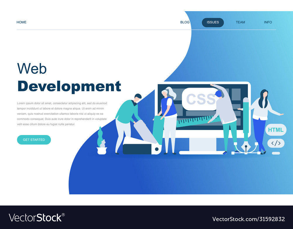 Modern Flat Design Concept Web Development Vector Image