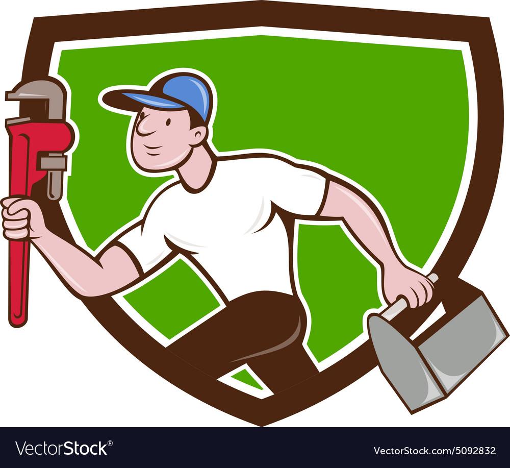 Plumber Running Toolbox Adjustable Wrench Cartoon