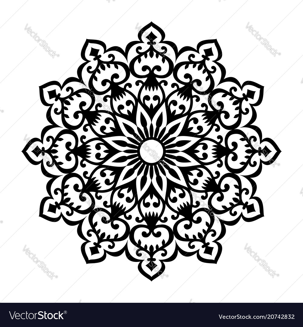 Round abstract ornament of coloring book for