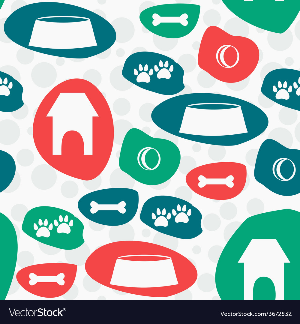 Seamless Pattern with Dogs Stuff Background vector image