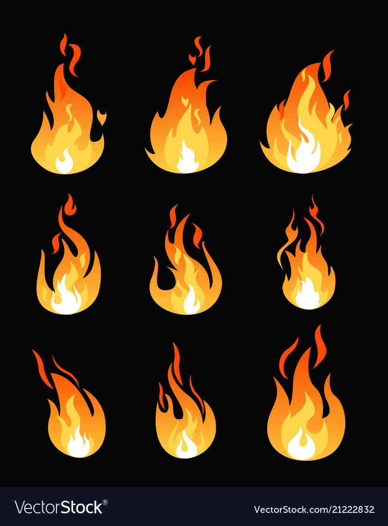Set of fire flames different vector image