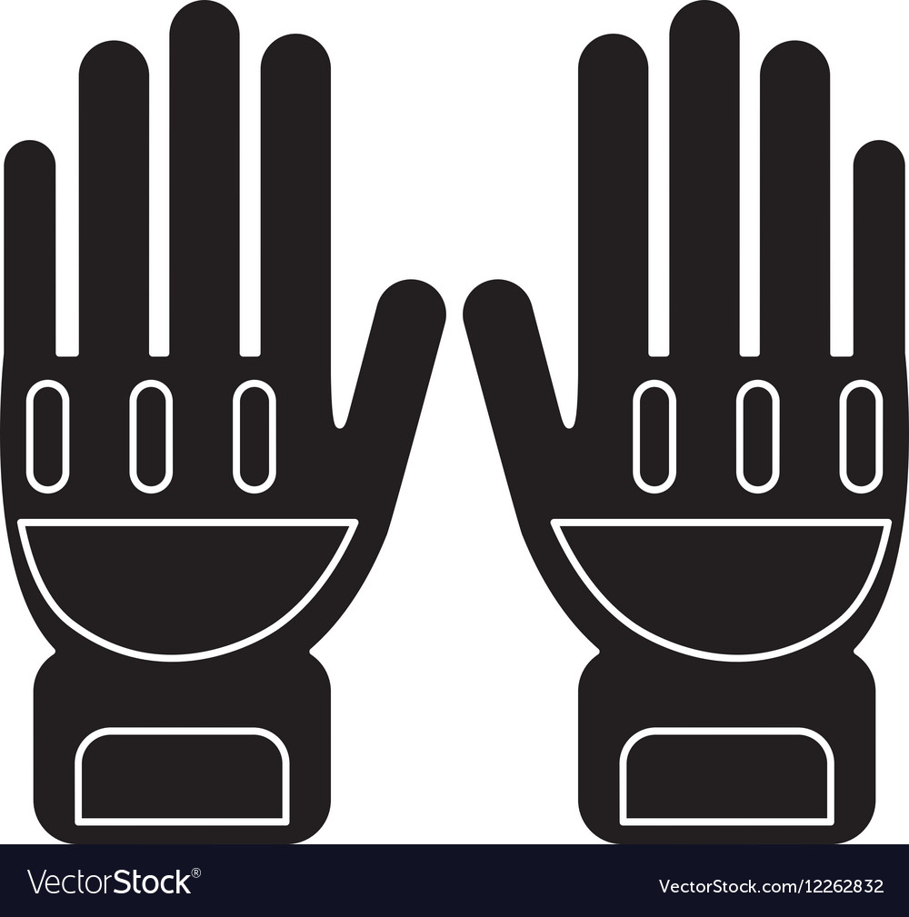silhouette gloves protection fireman elements vector image