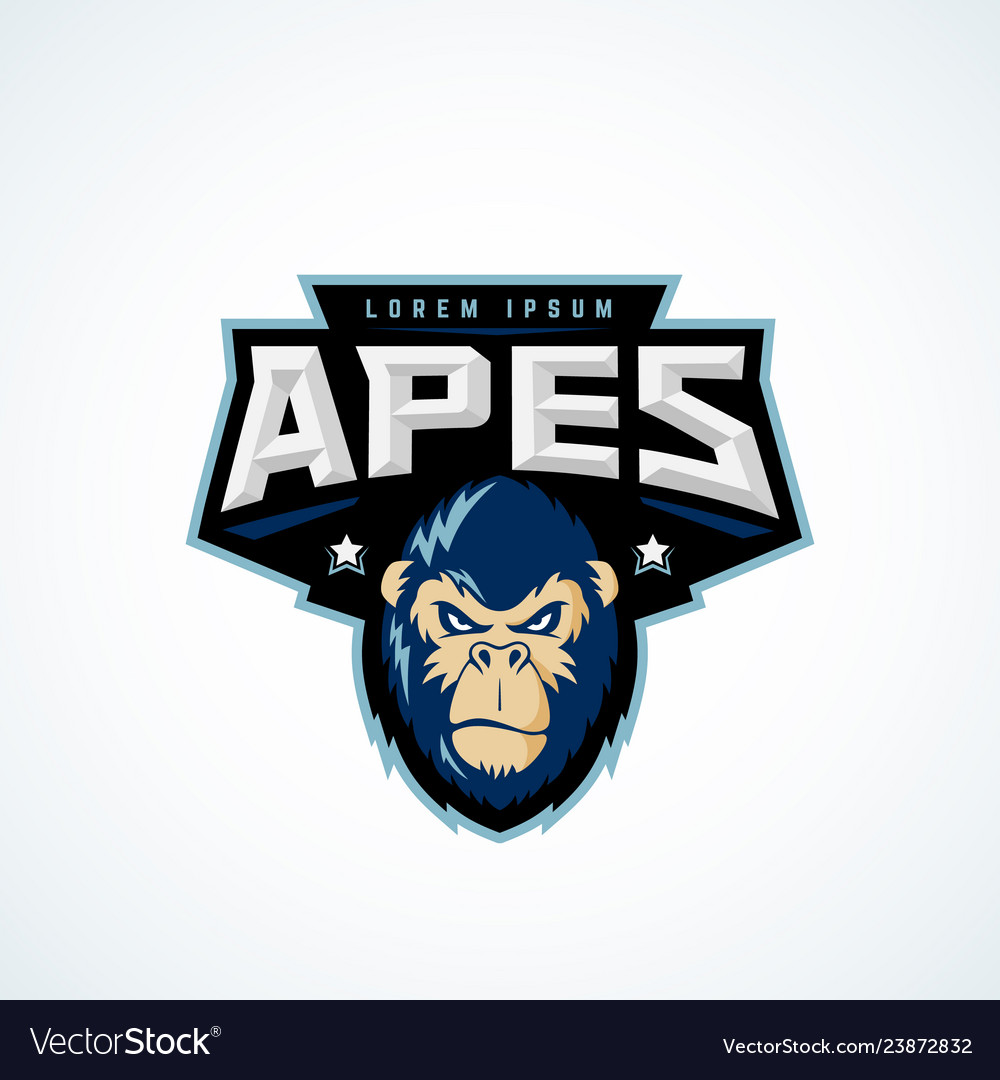 Sport apes abstract sign emblem or logo