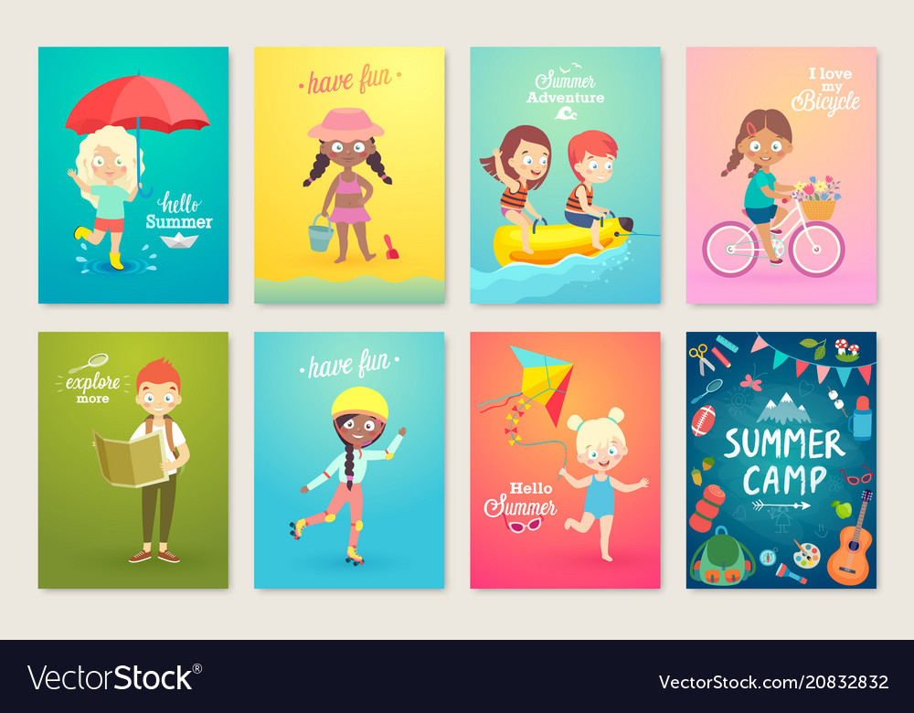 Summer kids card set swimming playing on the