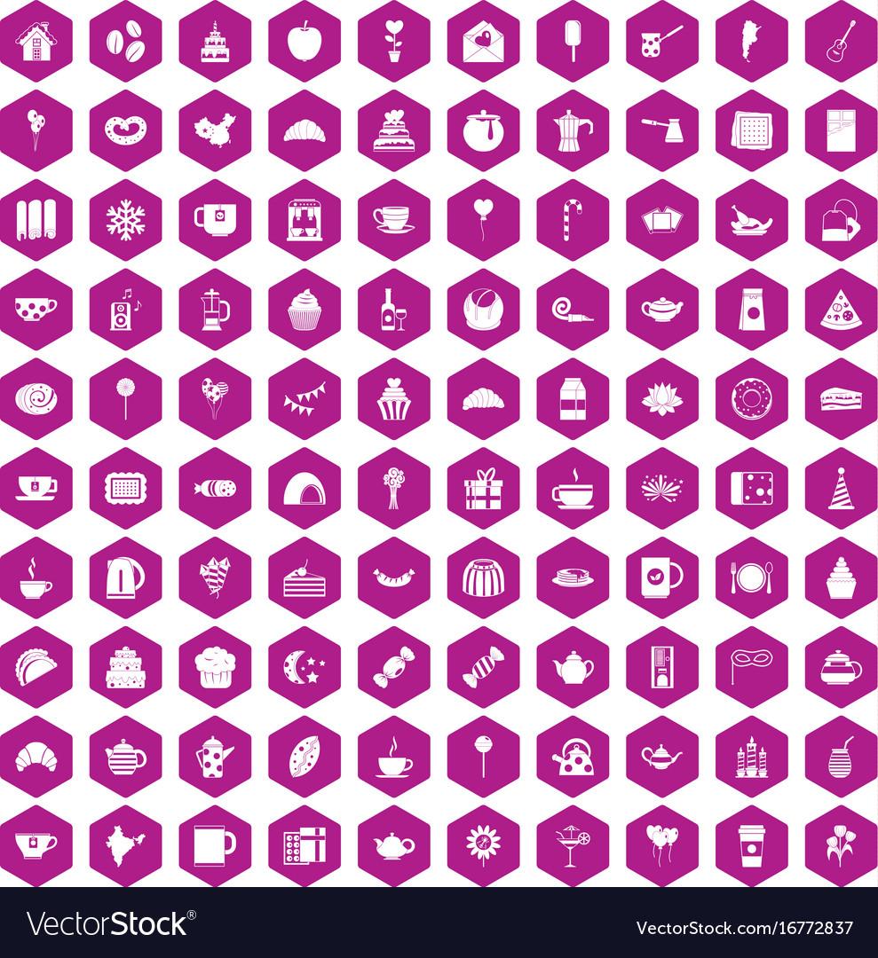 100 tea party icons hexagon violet vector image