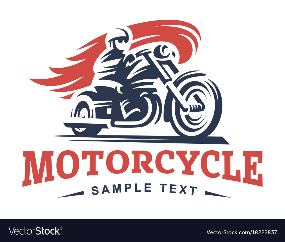 Biker fire motorcycle emblem and label