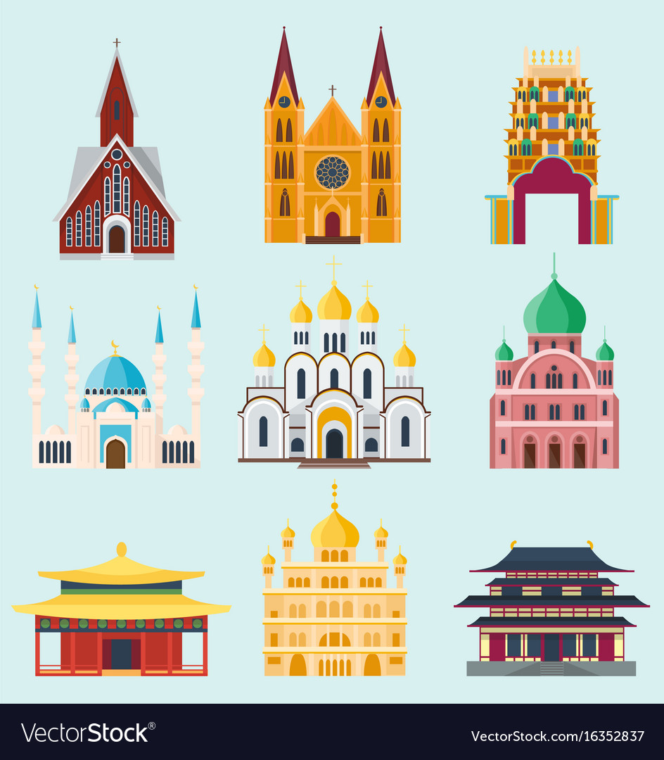 Cathedrals and churches temple building landmark vector image