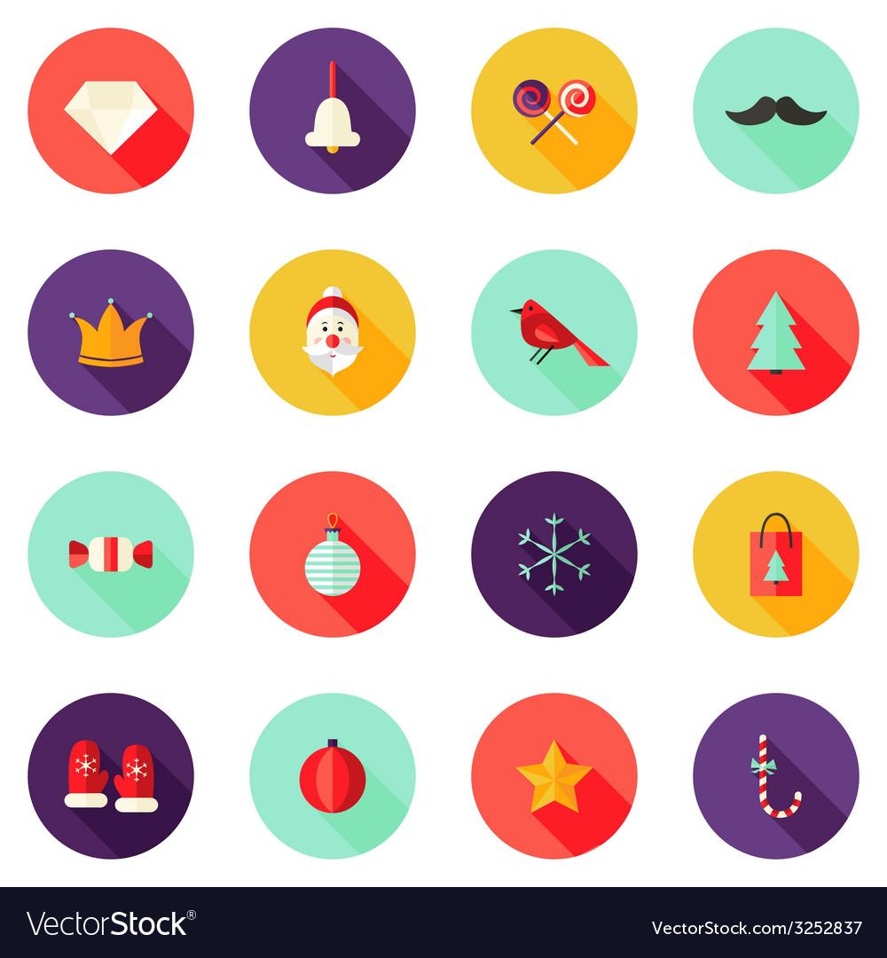 Christmas Circle Flat Icons Set 1