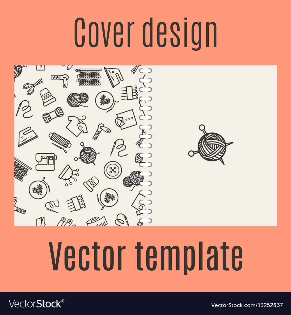 Cover design with sewing pattern Royalty Free Vector Image