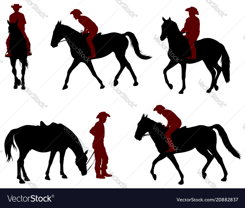Cowboy Riding A Horse Silhouettes Royalty Free Vector Image