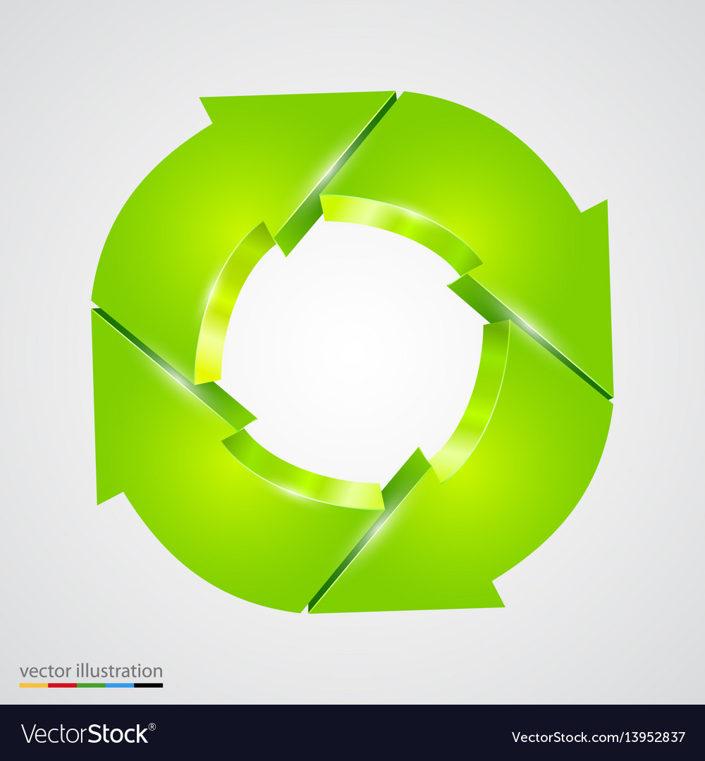 Creative arrows circle recycle sign
