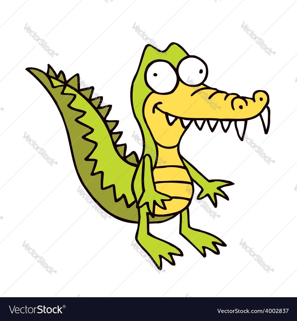 Crocodile cartoon smiling alligator funny vector image