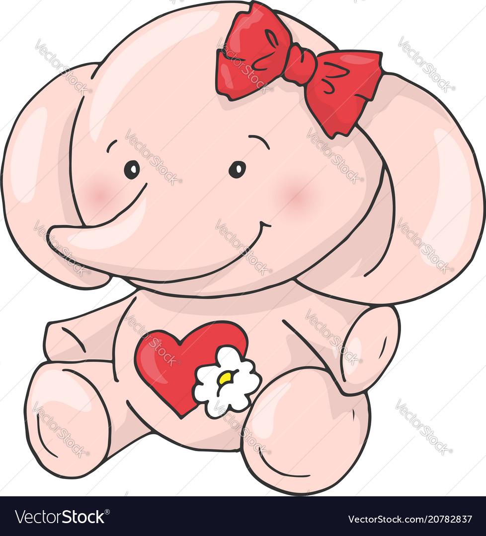 Cute cartoon lovely girl elephant