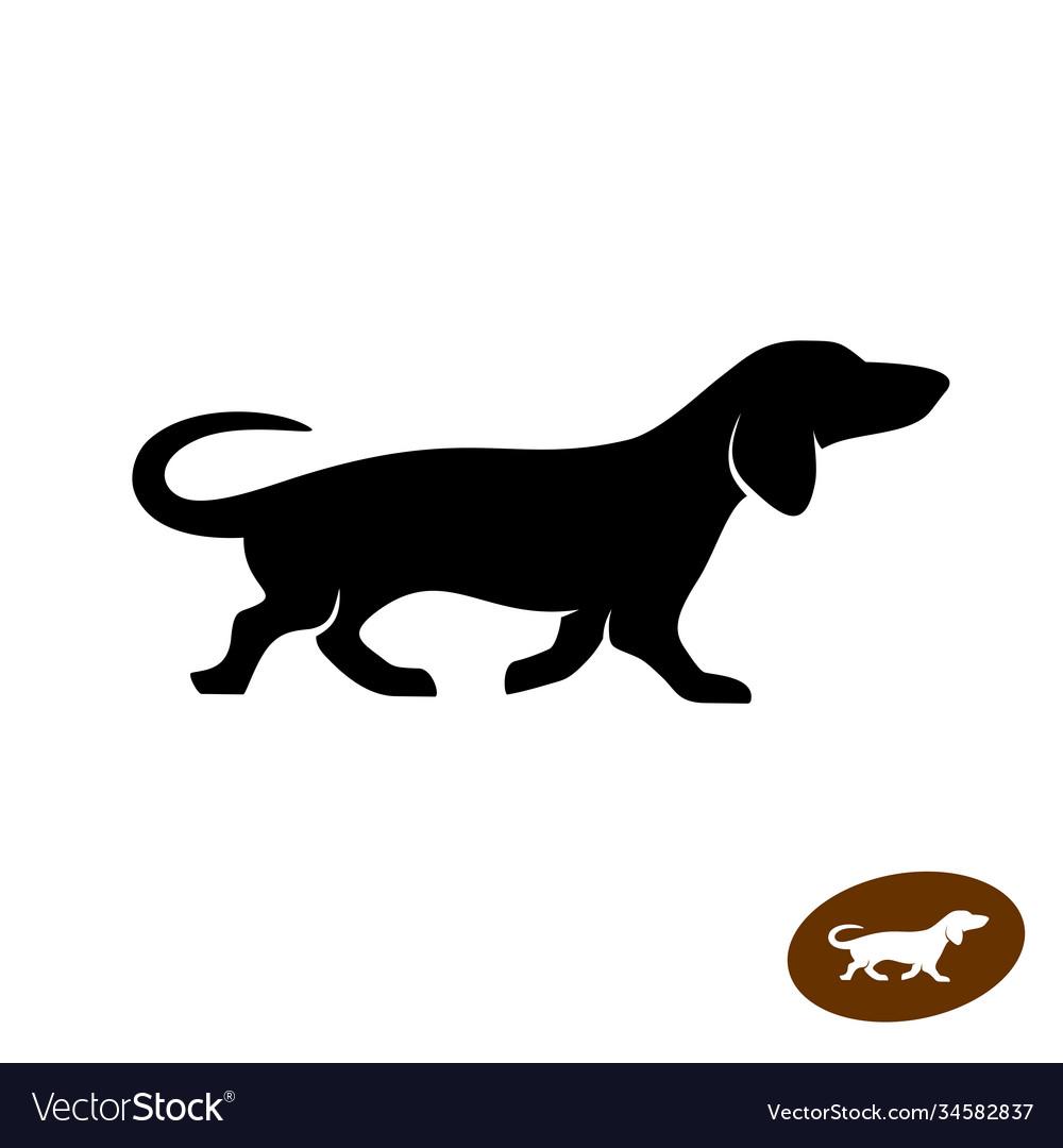 Dachshund dog running silhouette